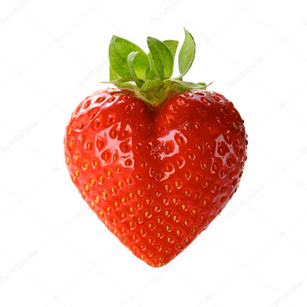 A heart shaped strawberry