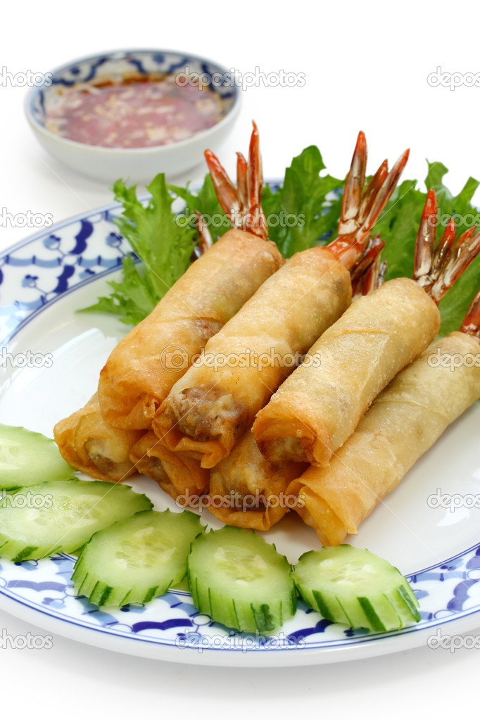 garnelen frühlingsrollen, thai-küche ? stockfoto © asimojet #8745891 - Thailand Küche