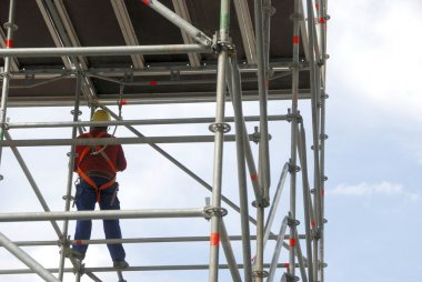 Scaffold and worker