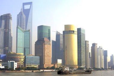 Pudong skyline at sunset, Shanghai, China