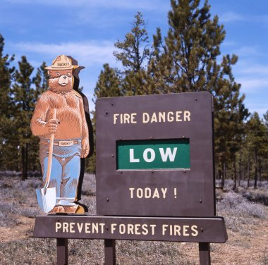 Prevent forest fires sign with Smokey Bear