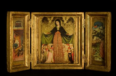 Triptych with Virgin and Child flanked by archangels, scenes from the life