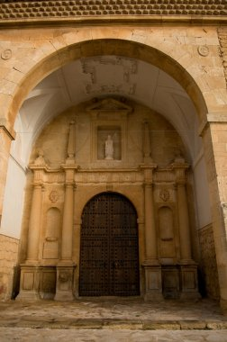San Antonio Abad church in El Toboso. Spain. Plateresque church. Cited in Q