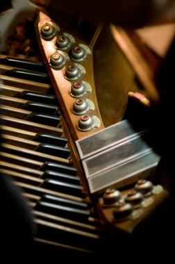 Classic organ. Keys and pedal to changing tone or instrument