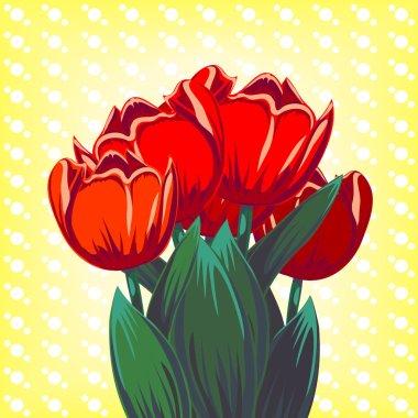 Vector tulips bouquet