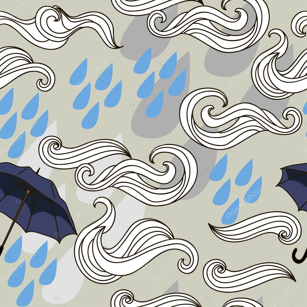 Vector illustration seamless with rain, clouds and flying umbrellas