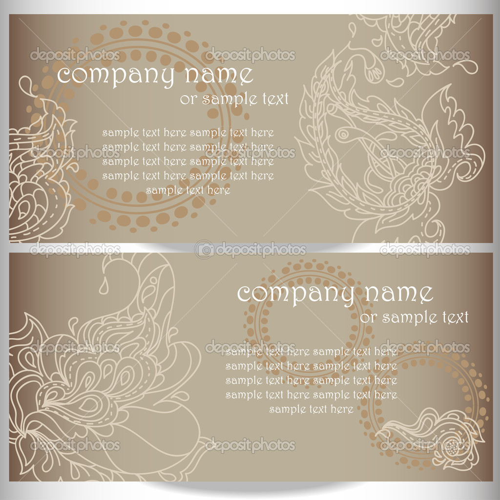 Business card designs with paisley ornament — Stock Vector ...