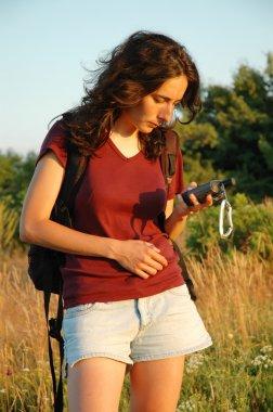 Girl with GPS navigator