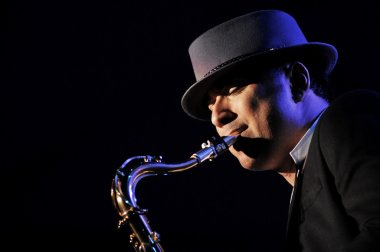 Saxophonist perform live