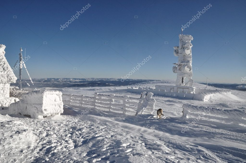 An ice-covered meteorological station