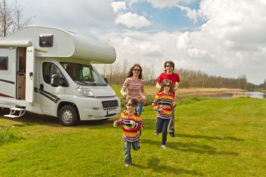 Family vacation in camping, motorhome trip