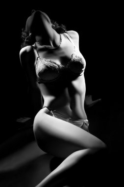 Sexy woman body in lingerie on black.