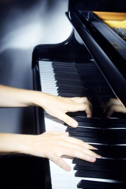 Piano pianist hands playing.