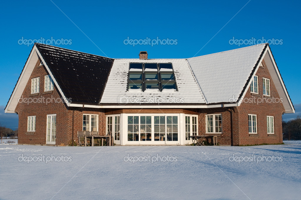 Beautiful modern house home in winter