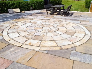 Display of stone floor tiles circle
