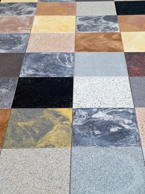 Display of different stone granite floor tiles
