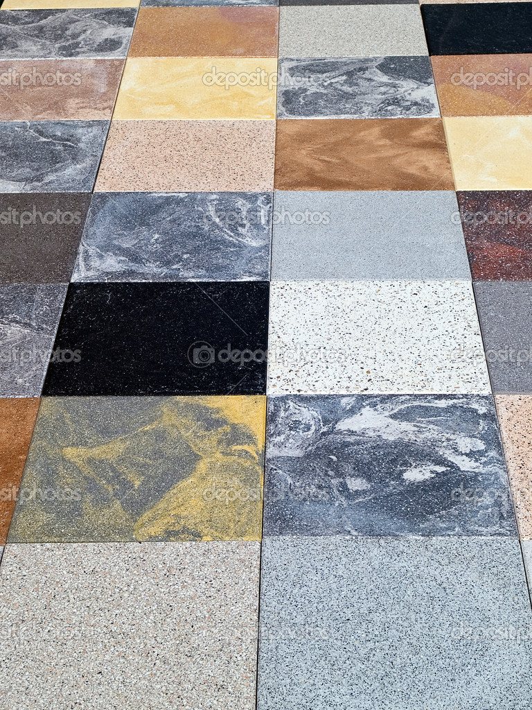 Display of different stone granite floor tiles — Stock Photo ...