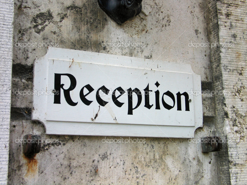 Reception sign in an old hotel