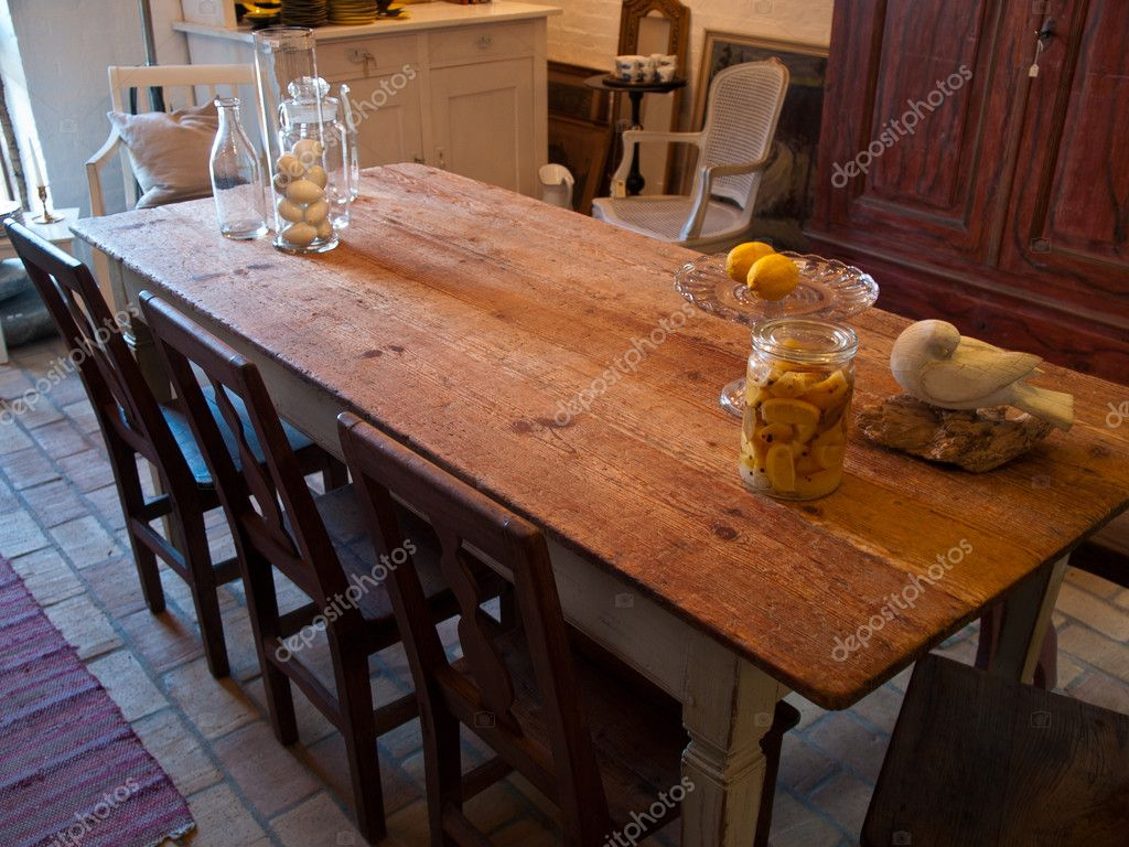 Country style classical vintage dining room — Stock Photo ...
