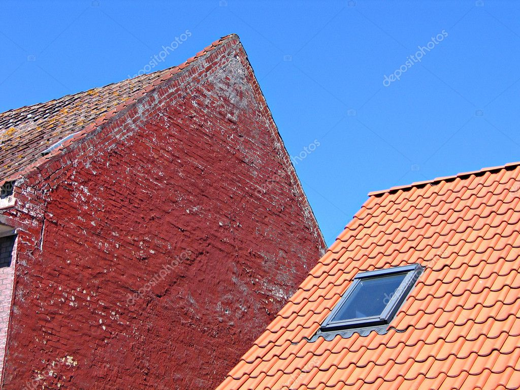 Roof Tiles And Bricks Wall Stock Photo Ronyzmbow 8942277