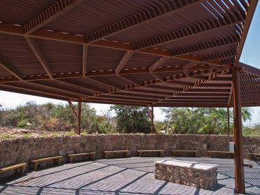 Classical wooden pergola arbor covering big area
