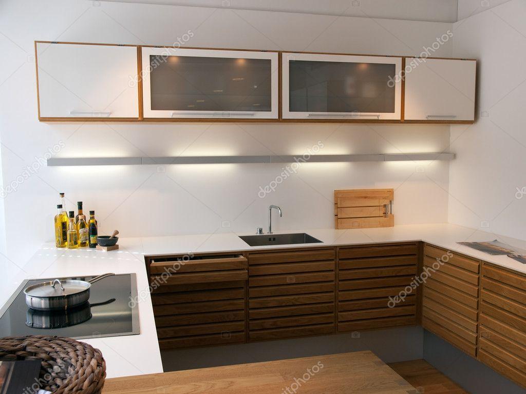 Linhas Limpas Na Moda Modernas Design De Madeira Cozinha Stock