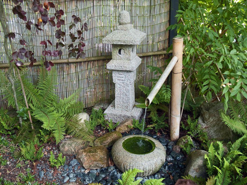 Beautiful Japanese garden decorative waterfall