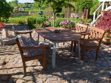 Formal garden furniture in a patio