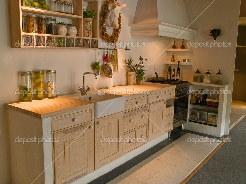 Modern Neo Classical Design Wooden Country Kitchen Stock Photo 9024538