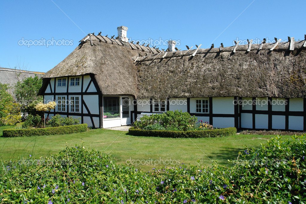 Traditional classic Danish country thached house — Stock Photo ...