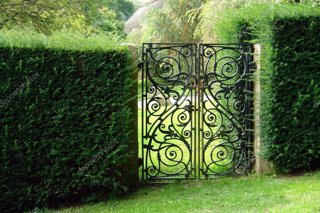 Black wrought iron garden gate