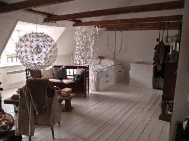 Retro style bedroom in loft