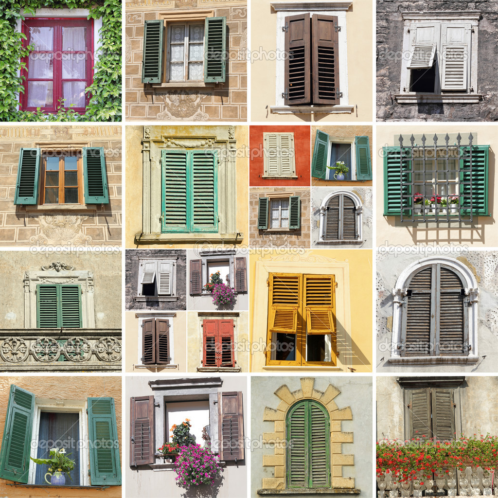 Collage with windows and shutters stock photo for Traditional window design