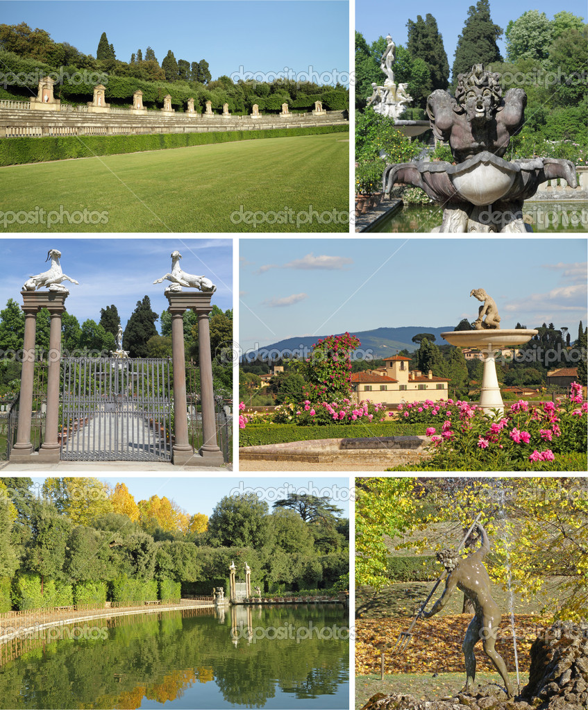 Collage with images of Boboli Gardens in Florence