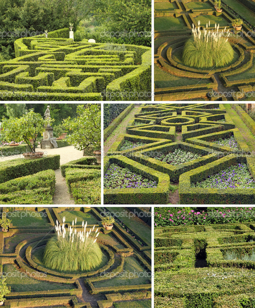 Collage with italian gardens