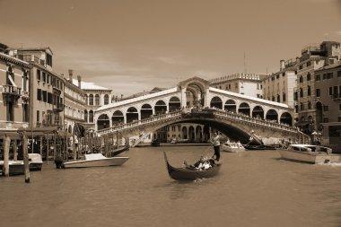 VENICE - MAY 17: Gondola at Rialto Bridge on May 17, 2010 in Venice, Italy.