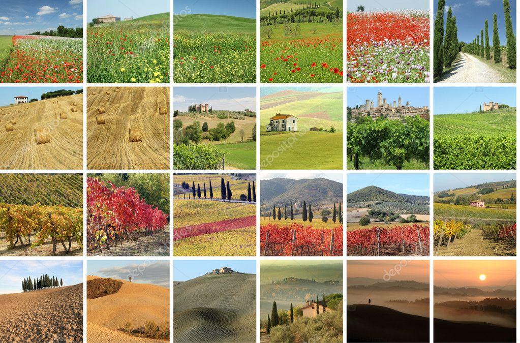 Фотообои Collage with fantastic landscape of Tuscany