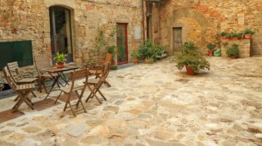 Paved rustic terrace in Tuscany