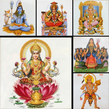 Collection of hindu religious icons on ceramic tiles as poster stock vector