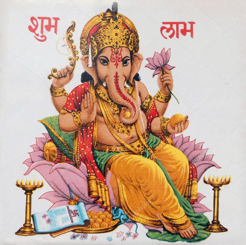 Ganesha Sitting On Lotus Flower Stock Photo Malgorzatakistryn