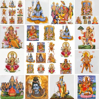 Collection of hindu religious symbols