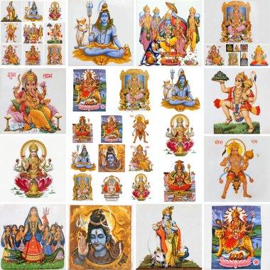 Collage with hindu gods as : Lakshmi, Ganesha, Hanuman, Vishnu, Shiva, Parvati, Durga, Buddha, Rama,Krishna stock vector