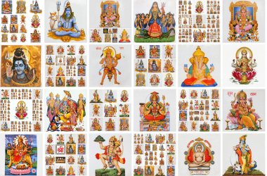 Variety of hindu gods, collage of ceramic tiles from India stock vector
