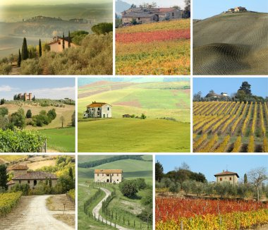 Collage with tuscan houses in scenic landscape