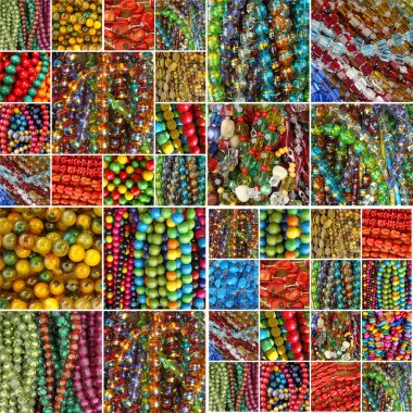 Collection of various colorful beads stock vector