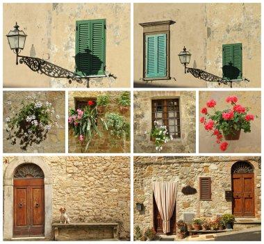Italian house collage, Tuscany