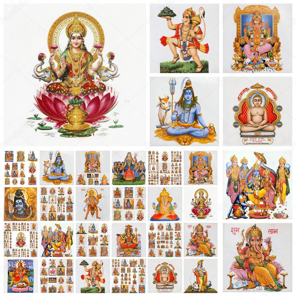 Collage with hindu gods , India
