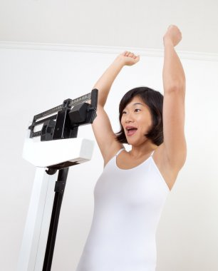 Happy Woman on Weight Scale Cheering