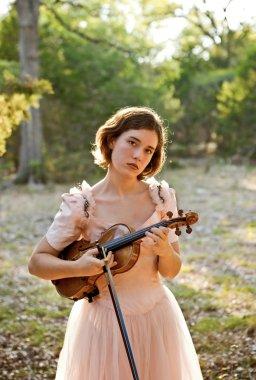 Violin Girl Portrait in Nature