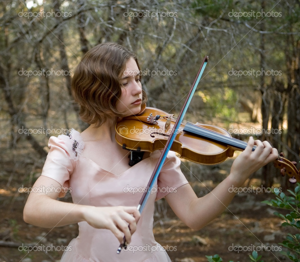 Violin Girl Fiddling in the Forest